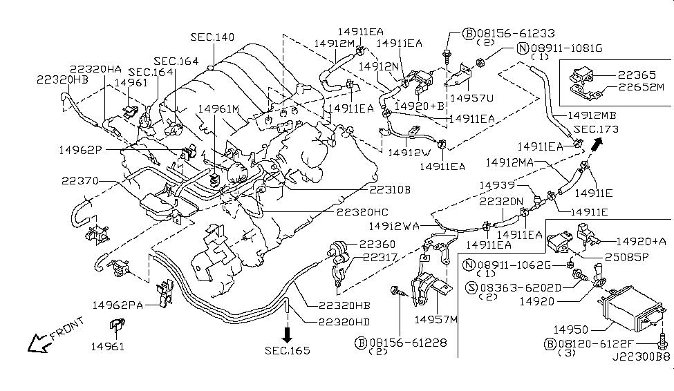 2002 infiniti qx4 engine control vacuum piping rh infinitipartsdeal com 2001 Infiniti I30 Engine Diagram Infiniti Parts Diagram