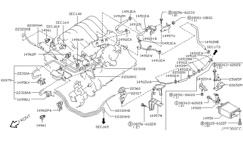 2003 infiniti qx4 engine control vacuum piping rh infinitipartsdeal com