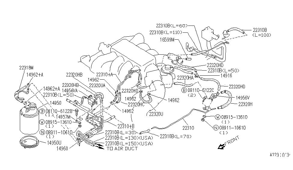 22320-67u06   genuine infiniti #2232067u06 hose-vacuum ... infiniti brakes diagram infiniti vacuum diagram #12