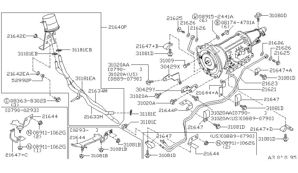 21640 67u00 genuine infiniti parts1996 infiniti q45 auto transmission transaxle fitting