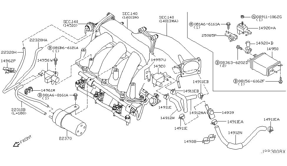 2002 infiniti i35 engine control vacuum piping rh infinitipartsdeal com 1996 infiniti i30 vacuum diagram 2005 Infiniti FX35 Engine Diagram