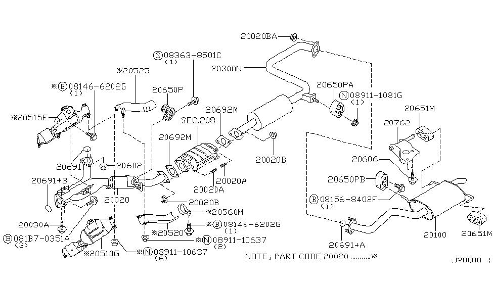 2001 infiniti i30 exhaust tube & muffler