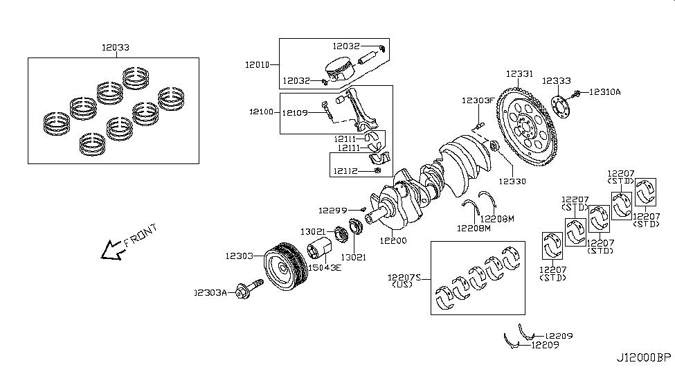 2003 Infiniti Q45 Piston,Crankshaft & Flywheel