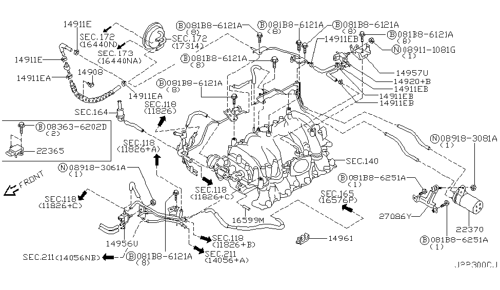 2005 Infiniti Q45 Engine Control Vacuum PipingInfiniti Parts