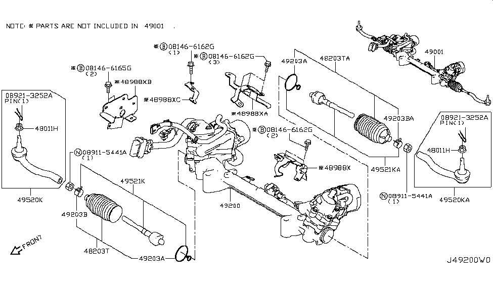 2014 Infiniti Q50 Power Steering Gear