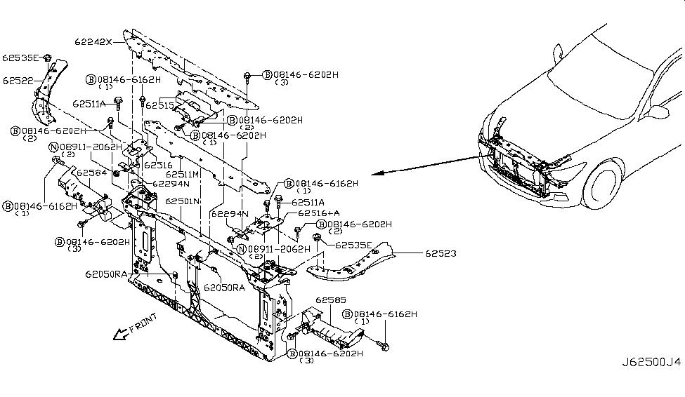 2014 Infiniti Q50 Front Apron & Radiator Core Support