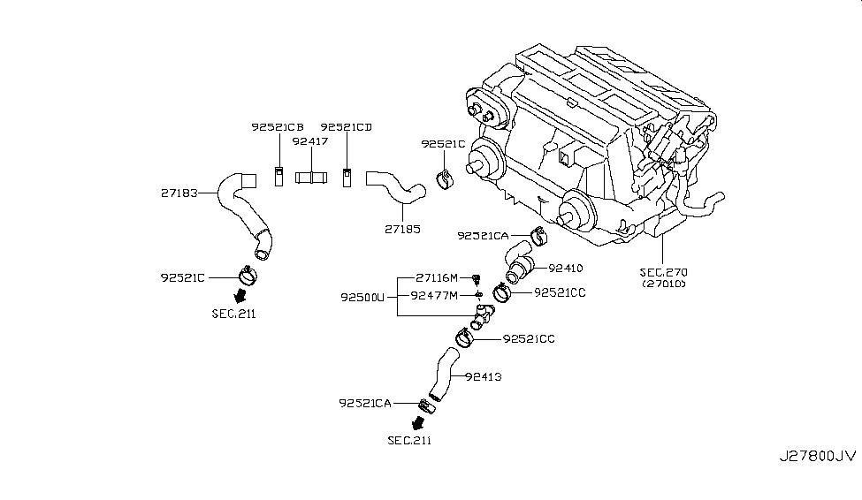 92413 jk60a genuine infiniti 92413jk60a hose heater