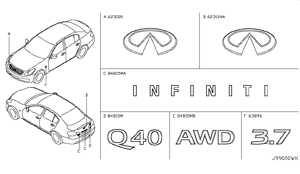84894 ju40a genuine infiniti 84894ju40a emblem trunk lid. Black Bedroom Furniture Sets. Home Design Ideas