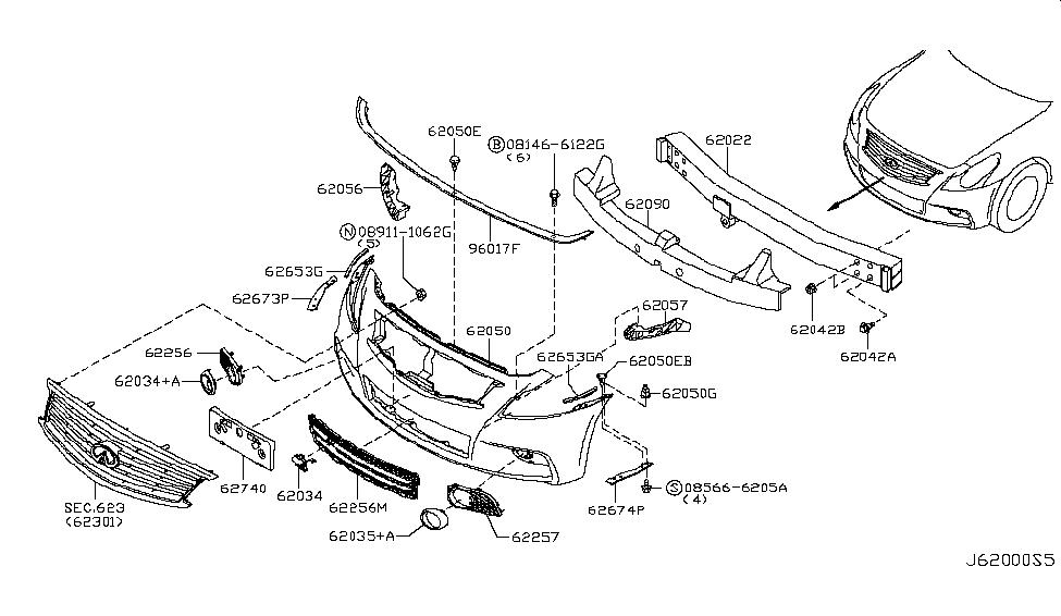 62022 1nf0h genuine infiniti 620221nf0h fascia front bumper rh infinitipartsdeal com infiniti g35 parts diagram infiniti g35 parts diagram