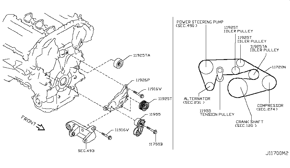 2008 infiniti g35 sedan fan compressor power steering belt rh infinitipartsdeal com 1996 Infiniti G20 Engine Diagram A Diagram of 2006 Infiniti QX56 Engine