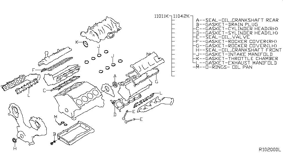 2007 infiniti qx56 engine gasket kit