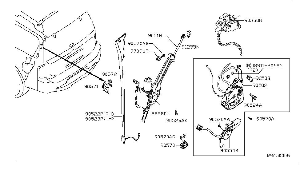 2006 Infiniti QX56 Back Door Lock & Handle - Infiniti Parts Deal on
