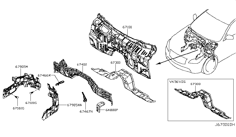 2014 Infiniti Q70 Hybrid Dash Panel & Fitting