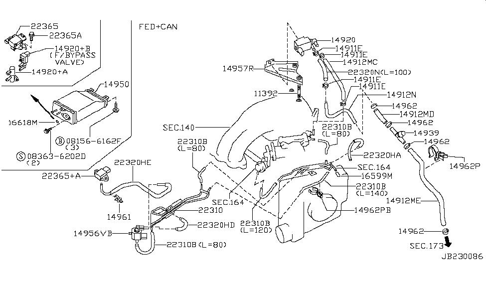 1999 infiniti i30 engine control vacuum piping rh infinitipartsdeal com 2000 Infiniti I30 Engine Diagram Infiniti Parts Diagram