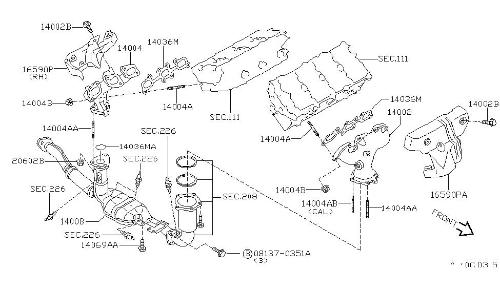 2001 Infiniti I30 Exhaust Diagram