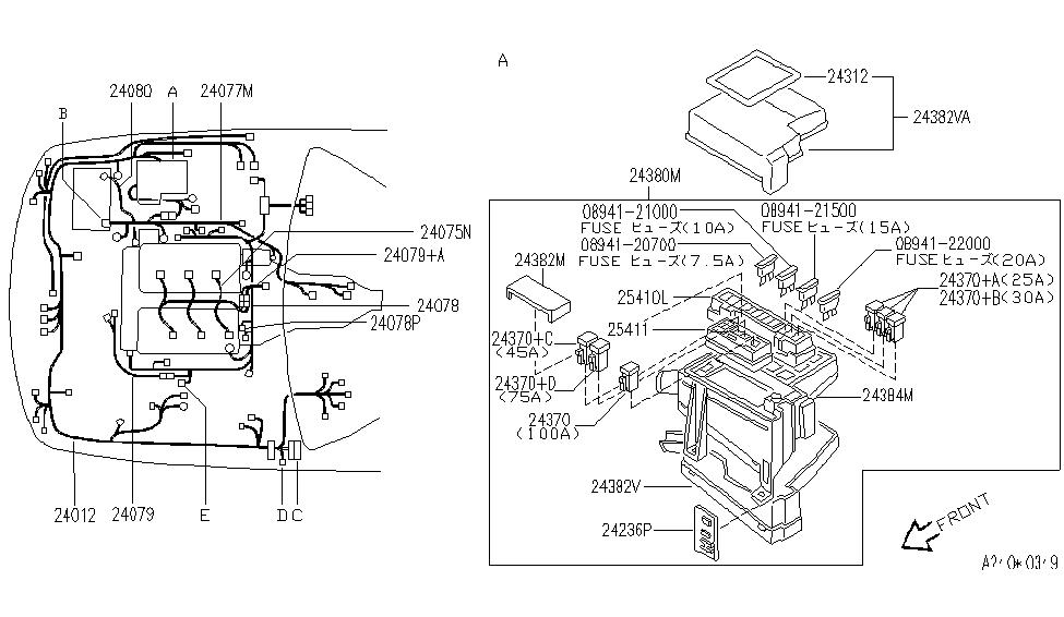 infiniti j30 wiring diagram 24346-10y00 | genuine infiniti #2434610y00 barcket-connector