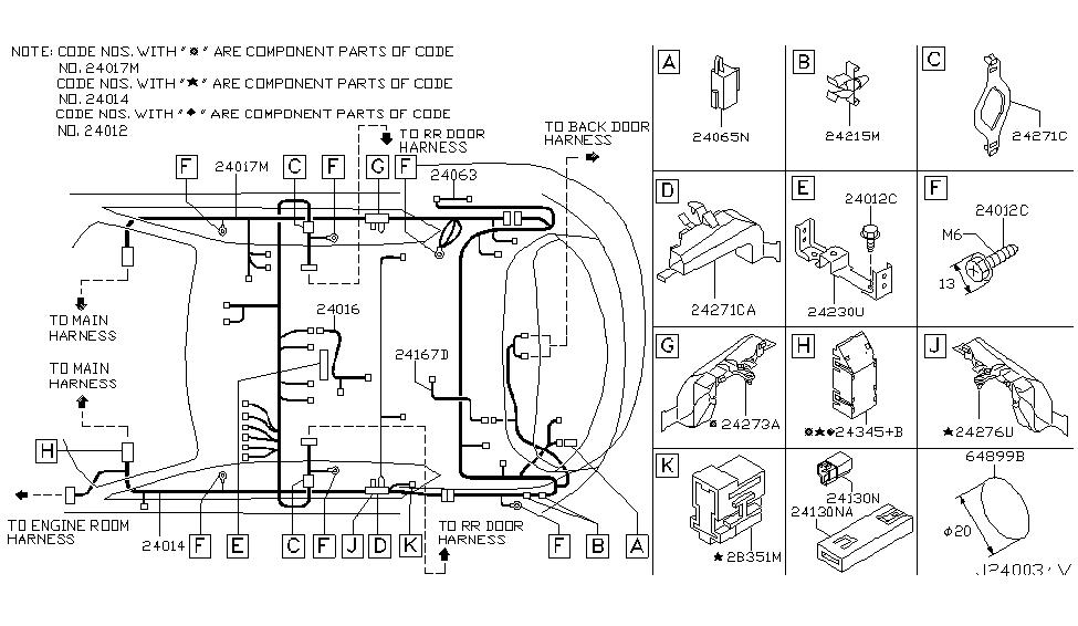 24017 cg005 genuine infiniti 24017cg005 harness body no2. Black Bedroom Furniture Sets. Home Design Ideas