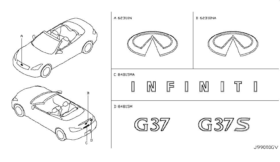 2009 Infiniti G37 Convertible Emblem & Name Label