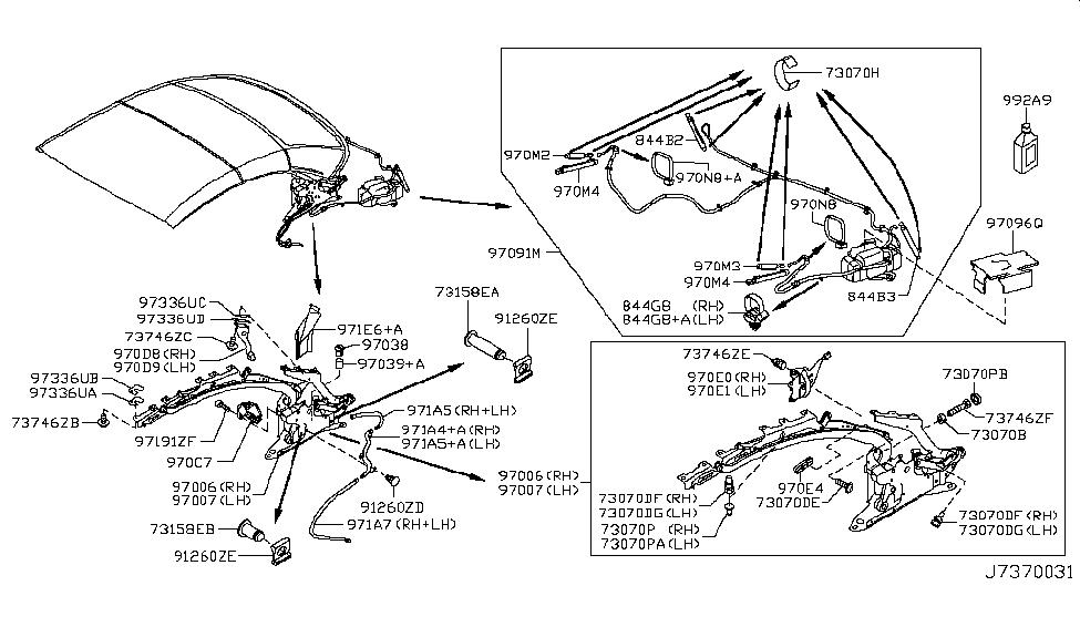 2011 Infiniti G37 Convertible Open Roof Parts