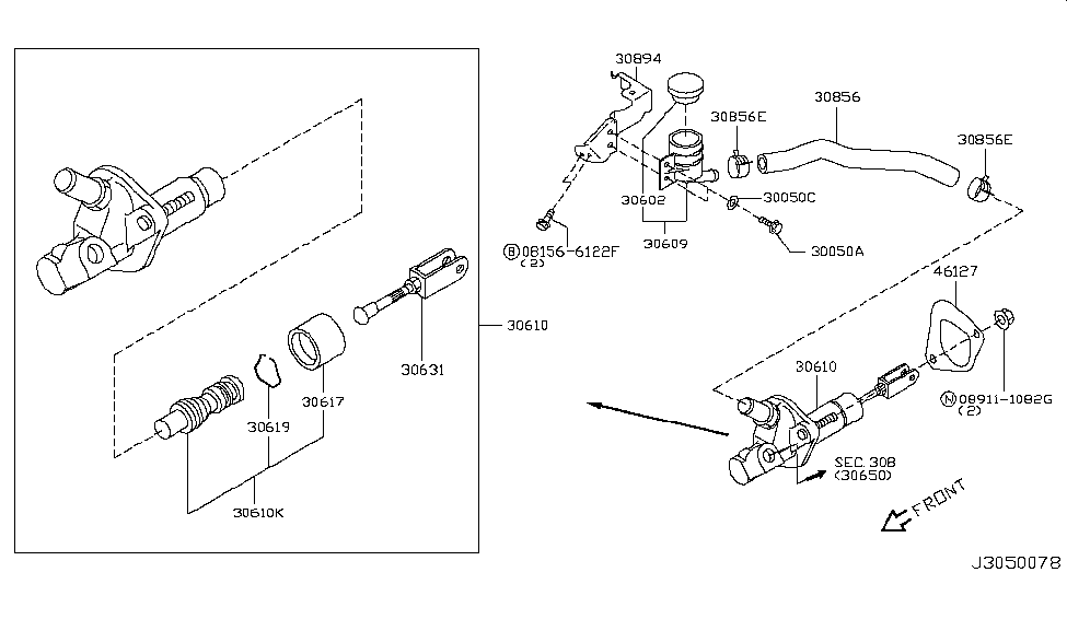 2012 Infiniti G37 Convertible Clutch Master Cylinder