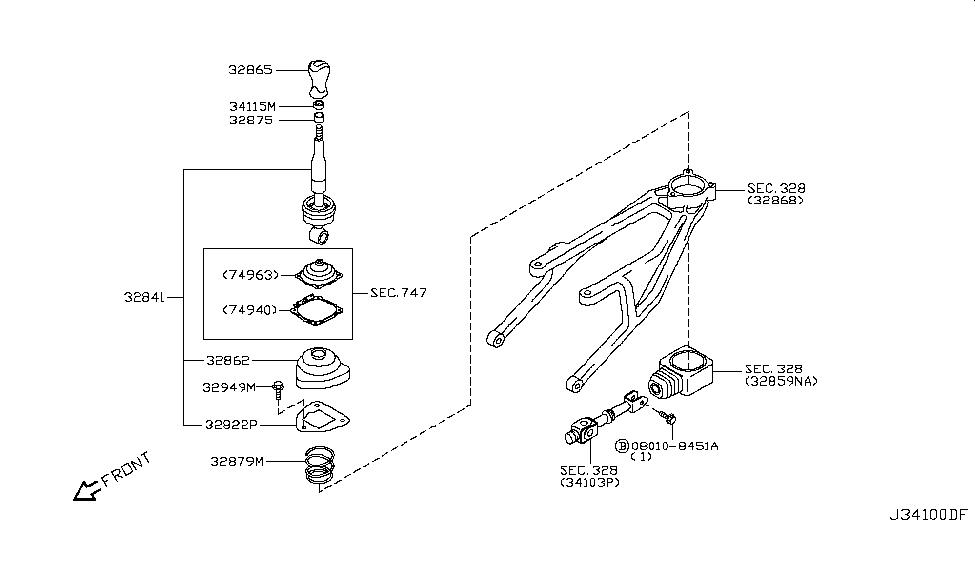 2013 Infiniti G37 Convertible Transmission Control & Linkage