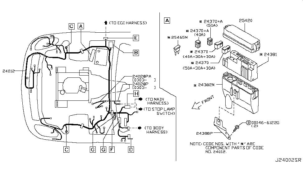 24012 am802 genuine infiniti 24012am802 harness engine room. Black Bedroom Furniture Sets. Home Design Ideas