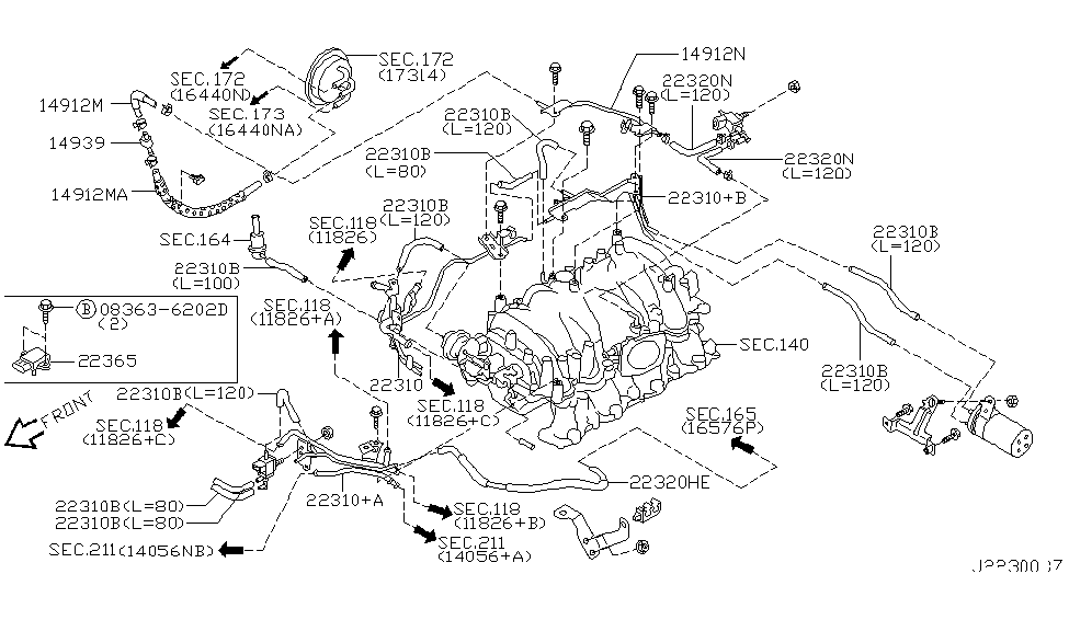 2003 infiniti m45 engine control vacuum piping - thumbnail 1