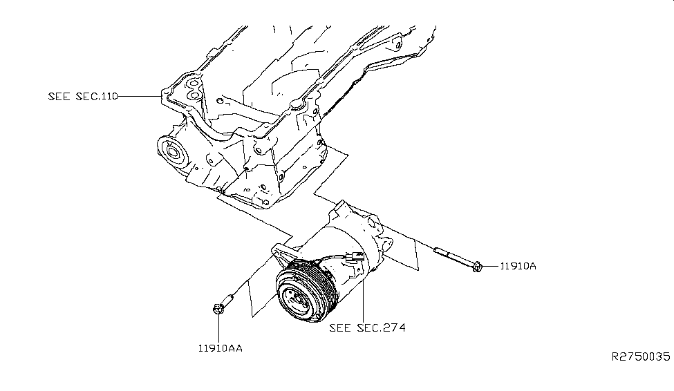 2013 Infiniti JX35 Compressor Mounting & Fitting