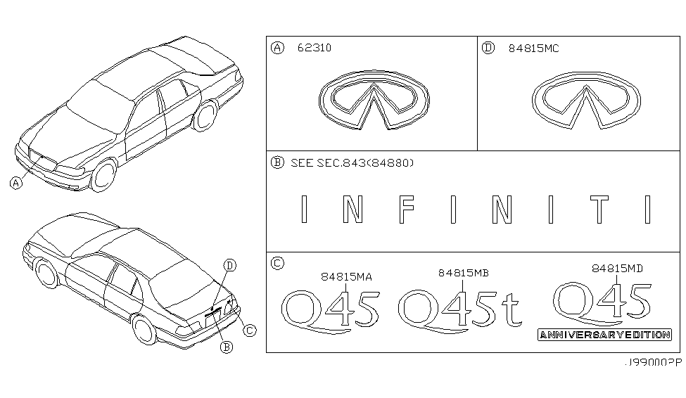 1999 Infiniti Q45 Emblem & Name Label
