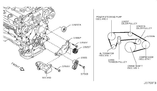 2007 Infiniti G35 Sedan Fan Compressor Power Steering Belt