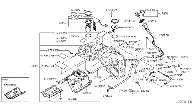 Diagram for Part No.: 17251-4BA0B