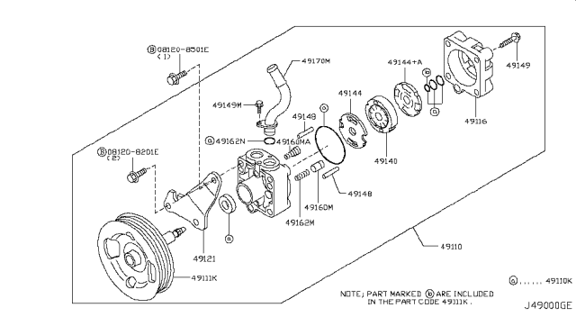 2013 Infiniti EX37 Power Steering Pump Diagram