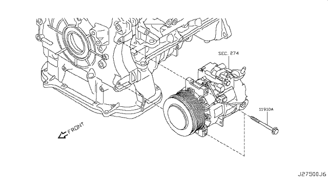 2008 Infiniti G37 Compressor Mounting & Fitting Diagram